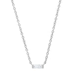 14K White Gold Solitaire Diamond Baguette Necklace
