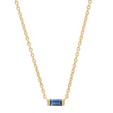 14K Yellow Gold Solitaire Blue Sapphire Baguette Necklace
