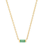 14K Yellow Gold Solitaire Emerald Baguette Necklace