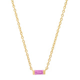 14K Yellow Gold Solitaire Pink Sapphire Baguette Necklace