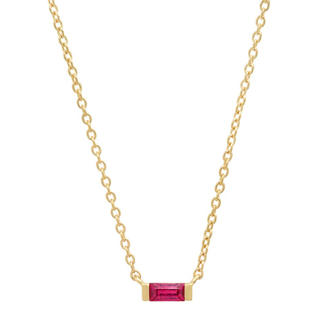 14K Yellow Gold Solitaire Ruby Baguette Necklace