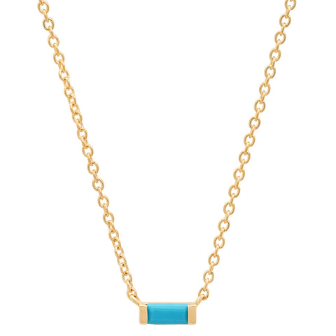 Solitaire Turquoise Baguette Necklace