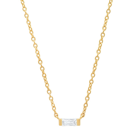 14K Yellow Gold Solitaire Diamond Baguette Necklace