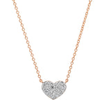 Rose Gold Diamond Smushed Heart Necklace