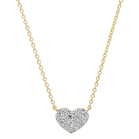 Yellow Gold Diamond Smushed Heart Necklace