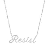 White Gold Resist Script Necklace