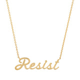 Yellow Gold Resist Script Necklace