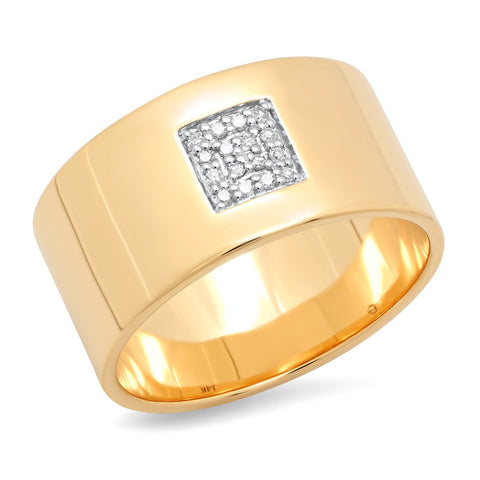 Eriness Jewelry Cigar Band With Pave Diamond Square