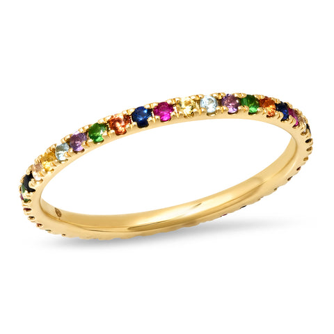 14K Yellow Gold Multi Colored Eternity Band