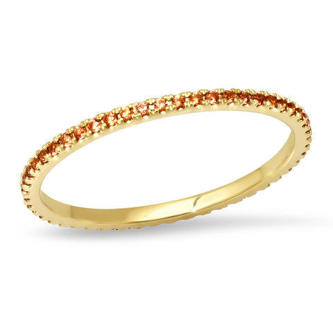14K Yellow Gold Orange Sapphire Eternity Band