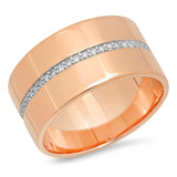 14K Rose Gold Cigar Band with Pave Diamond Row