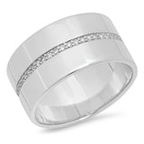 14K White Gold Cigar Band with Pave Diamond Row
