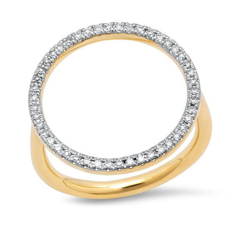 14K Yellow Gold Diamond Circle Ring