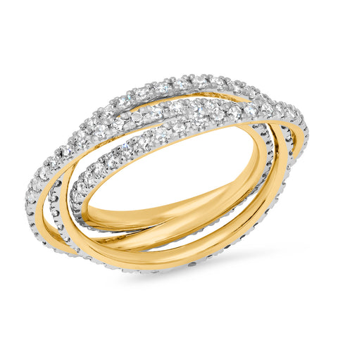 Yellow Gold Diamond Interlocking Ring