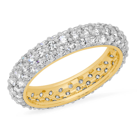 14K Yellow Gold Diamond Domed Ring