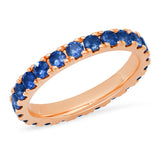14K Rose Gold Large Blue Sapphire Eternity Band