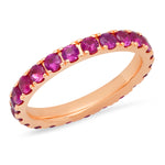 14K Rose Gold Large Ruby Eternity Band