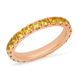 14K Rose Gold Large Yellow Sapphire Eternity Band
