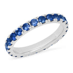 14K White Gold Large Blue Sapphire Eternity Band