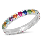 14K White Gold Large Multi Colored Eternity Band