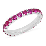 14K White Gold Large Ruby Eternity Band