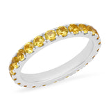 14K White Gold Large Yellow Sapphire Eternity Band