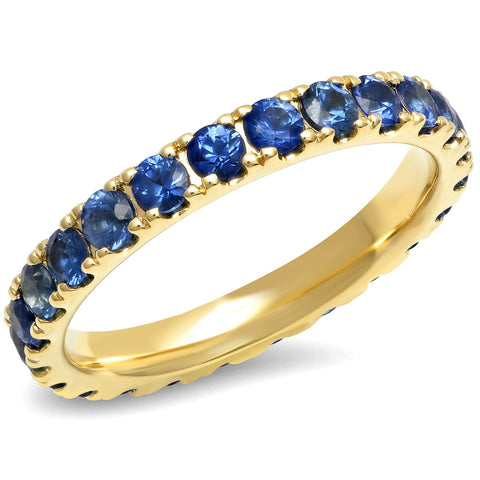 14K Yellow Gold Large Blue Sapphire Eternity Band