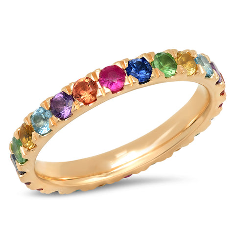 14K Yellow Gold Large Multi Colored Eternity Band