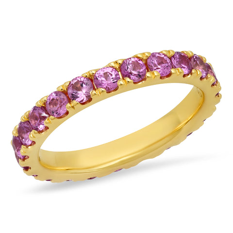 14K Yellow Gold Large Pink Sapphire Eternity Band