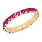 14K Yellow Gold Large Ruby Eternity Band
