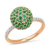 Rose Gold Emerald Disco Ball Ring