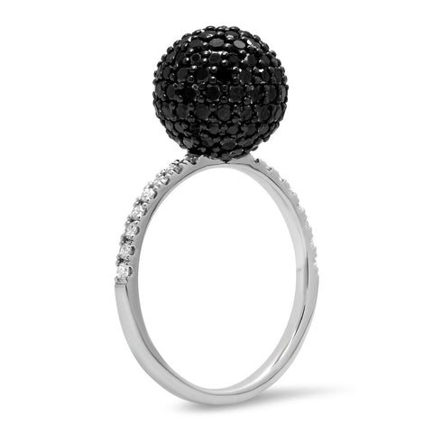 Eriness Jewelry Black and White Diamond Disco Ball Ring