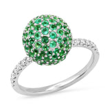 White Gold Emerald Disco Ball Ring