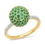 Yellow Gold Emerald Disco Ball Ring