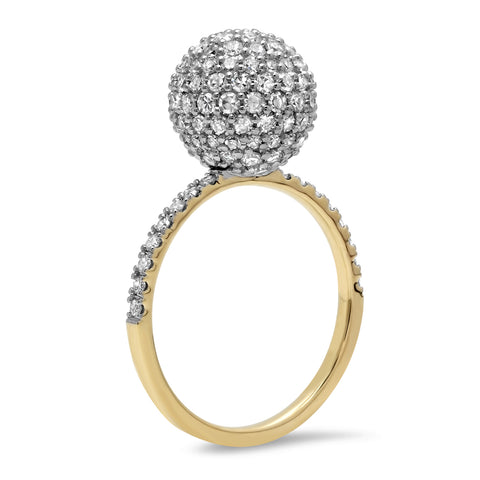 14K Yellow Gold Diamond Disco Ball Ring