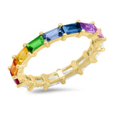 Yellow Gold Rainbow and Diamond Baguette Ring