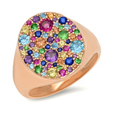 14K Rose Gold Multi Colored Signet Ring