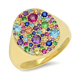 14K Yellow Gold Multi Colored Signet Ring