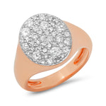 Rose Gold Diamond Signet Pinky Ring