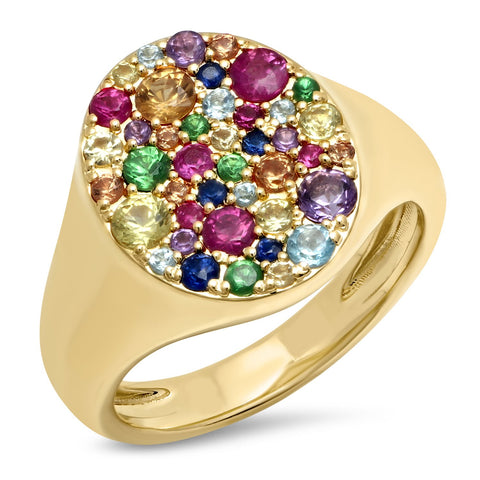 14K Yellow Gold Multi Colored Pinky Signet Ring