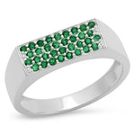 14K White Gold Emerald Staple Signet Ring