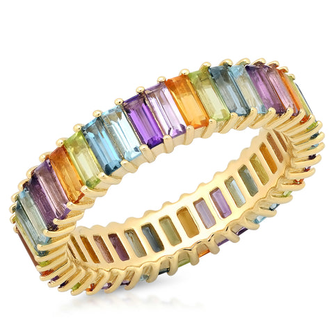 Multi Colored Pastel Baguette Ring
