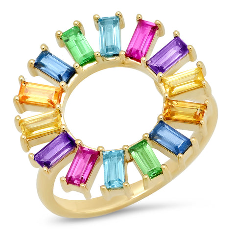 Eriness Jewelry Rainbow Baguette Flower Ring