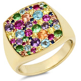 Eriness Jewelry Multi Colored Cushion Signet Ring