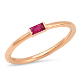 Eriness Jewelry Ruby Baguette Solitaire Ring