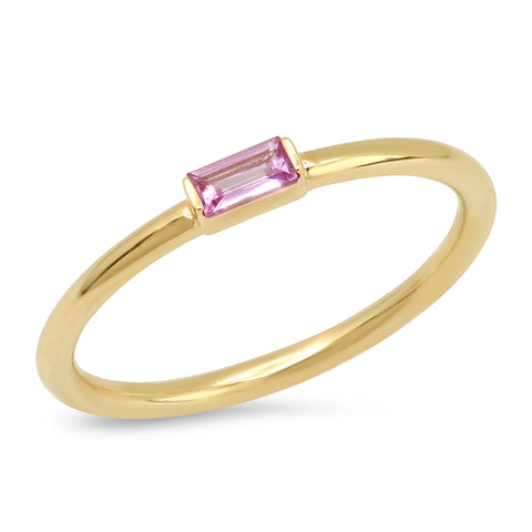 Eriness Jewelry Pink Sapphire Baguette Solitaire Ring