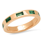 14K Rose Gold Stationary Emerald Baguette Ring