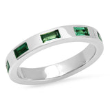 14K White Gold Stationary Emerald Baguette Ring