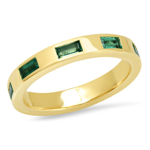 14K Yellow Gold Stationary Emerald Baguette Ring