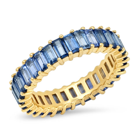 Eriness Jewelry Blue Sapphire Vertical Baguette Ring